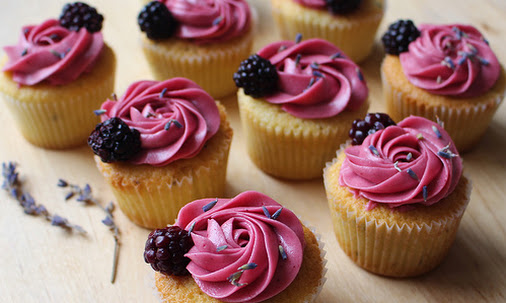 Lavender Cupcakes With Blackberry Buttercream